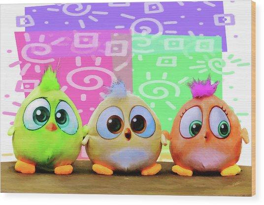 Birds In The Nursery Wood Print