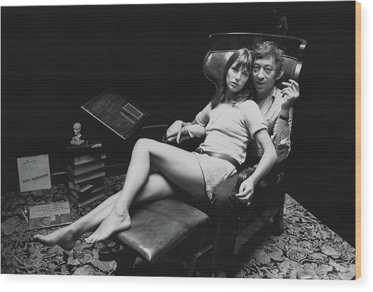 Birkin And Gainsbourg Wood Print
