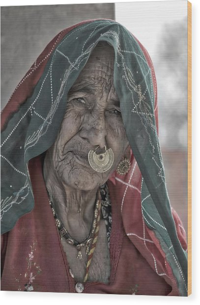 Bishnoi Woman Wood Print