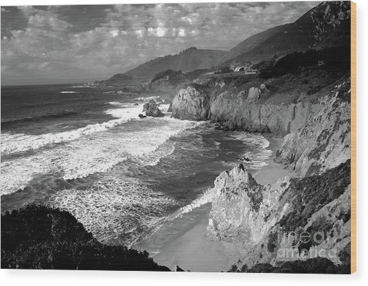Black And White Big Sur Wood Print