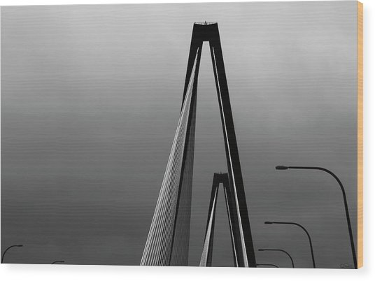 Black And White Bridge Abstract Wood Print