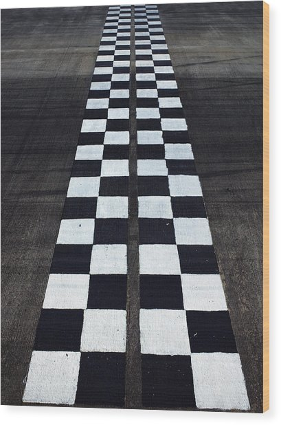 Black And White Finish Line Wood Print by Win-initiative/neleman