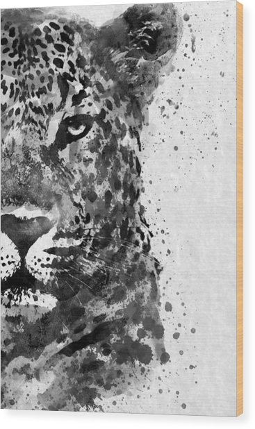 Black And White Half Faced Leopard Wood Print
