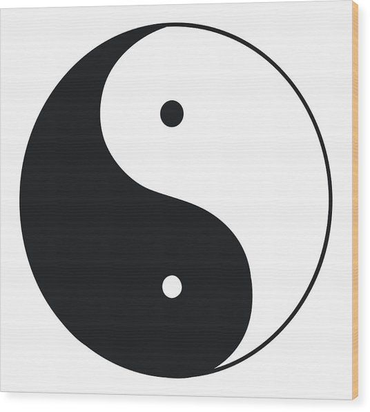 Black And White Illustration Of Tai Chi Wood Print by Dorling Kindersley