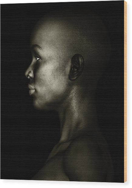 Wood Print featuring the photograph Black And White Profile Of An African Woman by Jan Keteleer
