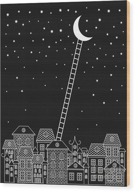 Black And White To The Moon And Back Wood Print
