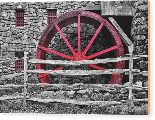 Black And White With Red - Grist Mill Wood Print