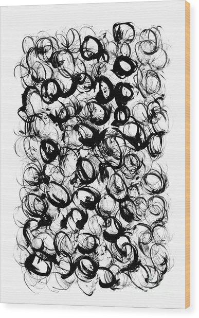 Black Circles Wood Print