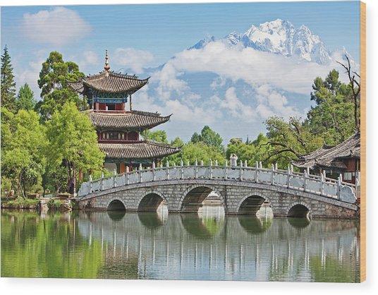 Black Dragon Pool, Lijiang, Yunnan Wood Print