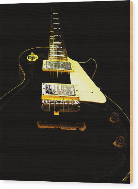 Black Guitar With Gold Accents Wood Print