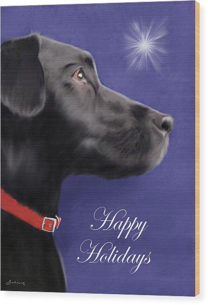 Black Labrador Retriever - Happy Holidays Wood Print