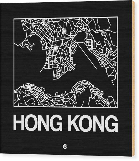 Black Map Of Hong Kong Wood Print