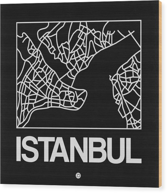 Black Map Of Istanbul Wood Print