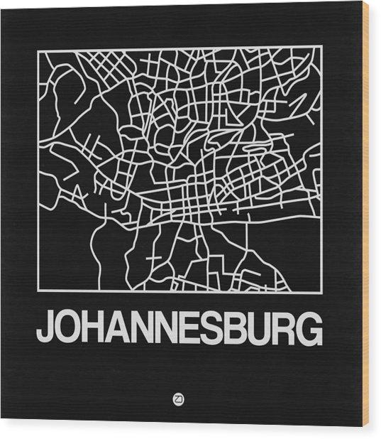 Black Map Of Johannesburg Wood Print