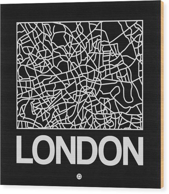 Black Map Of London Wood Print