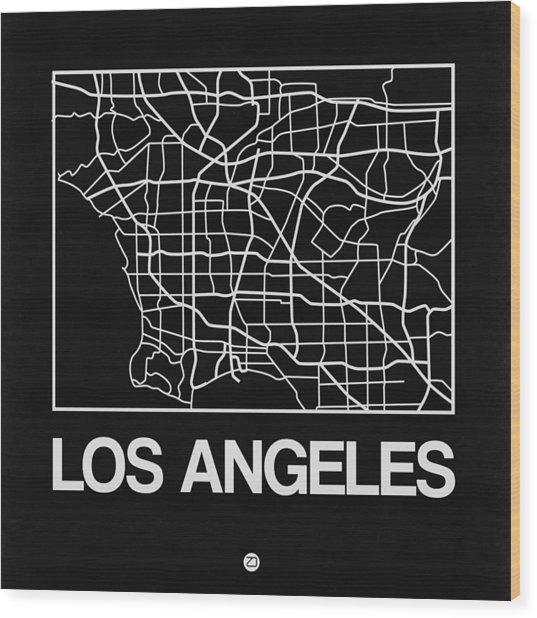 Black Map Of Los Angeles Wood Print