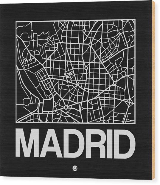Black Map Of Madrid Wood Print