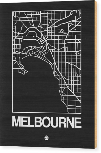 Black Map Of Melbourne Wood Print