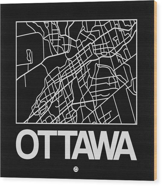 Black Map Of Ottawa Wood Print