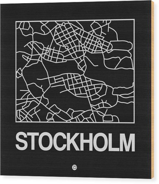 Black Map Of Stockholm Wood Print