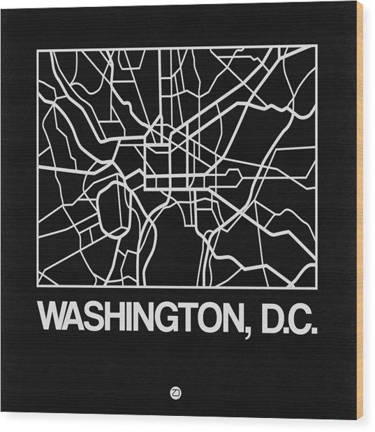 Black Map Of Washington, D.c. Wood Print