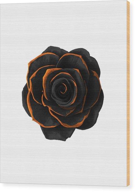Black Rose- Black And Gold Rose - Death - Minimal Black And Gold Decor - Dark 2 Wood Print