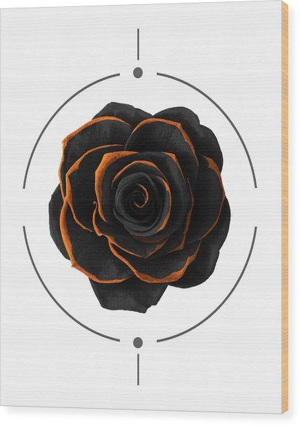 Black Rose - Black And Gold Rose - Death - Minimal Black And Gold Decor - Dark Wood Print