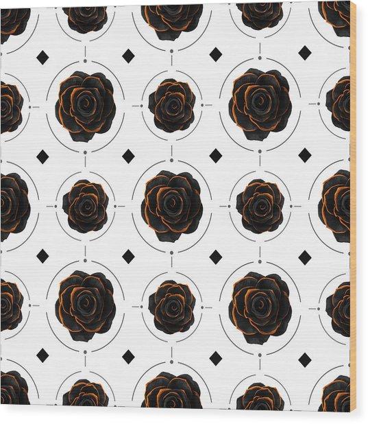 Black Rose Pattern - Black And Gold Rose - Death - Minimal Black And Gold Decor - Dark 3 Wood Print