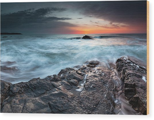 Black Sea Rocks Wood Print