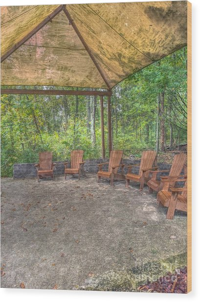 Blacklick Woods - Chairs Wood Print