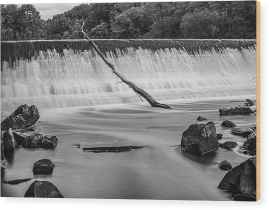 Wood Print featuring the photograph Blackstone River Xv  Bw by David Gordon