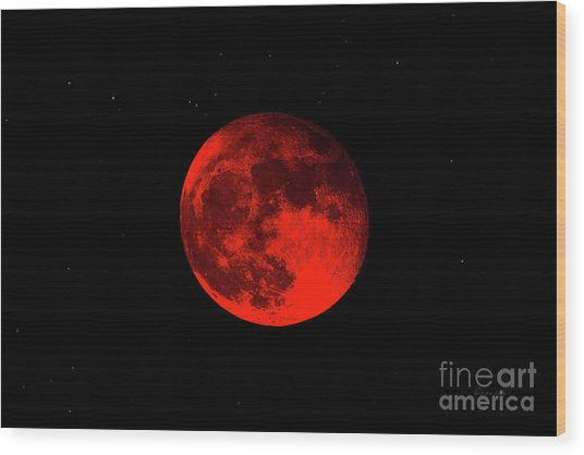 Blood Red Wolf Supermoon Eclipse 873a Wood Print