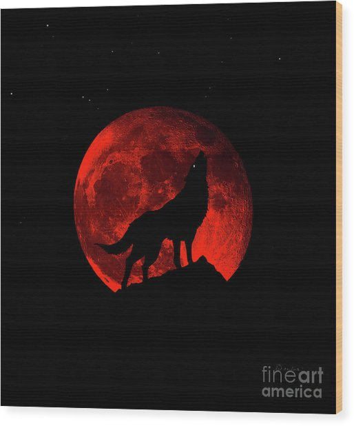 Blood Red Wolf Supermoon Eclipse 873l Wood Print