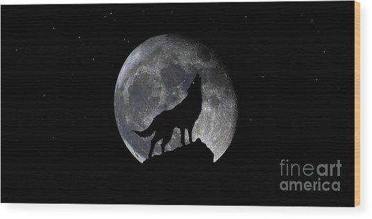 Pre Blood Red Wolf Supermoon Eclipse 873r Wood Print