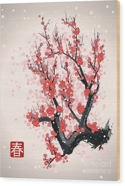Blooming Flowers On The Tree Branch Wood Print