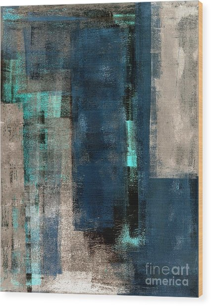 Blue And Beige Abstract Art Painting Wood Print