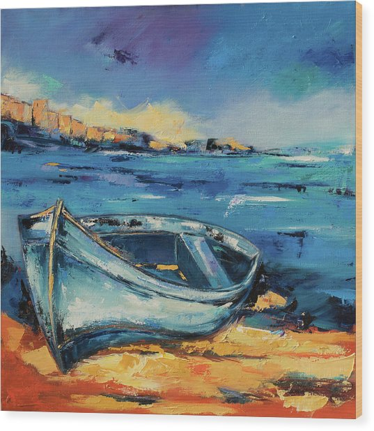 Blue Boat On The Mediterranean Beach Wood Print