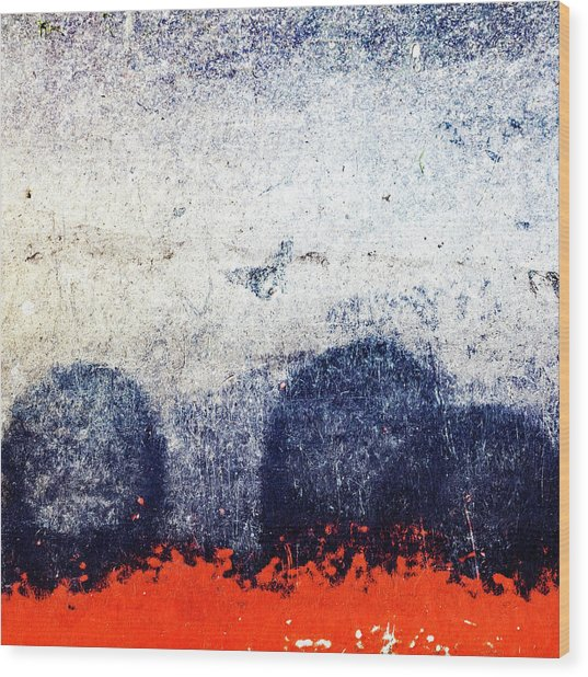Blue Boulders Red Lava Wood Print