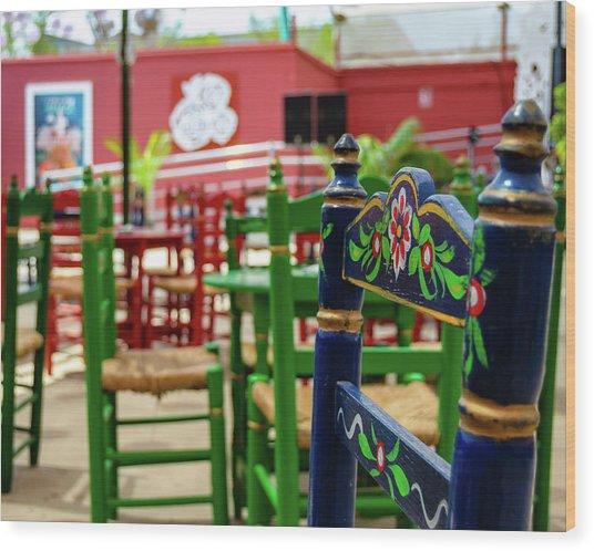 Blue Fair Chair Wood Print