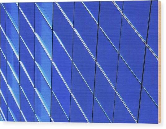 Blue Glass Modern Building Wood Print