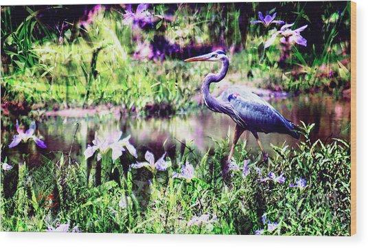 Blue Heron Wetland Magic Landscape Wood Print by Ginette Callaway