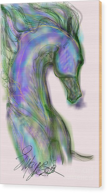 Blue Horse Painting Wood Print