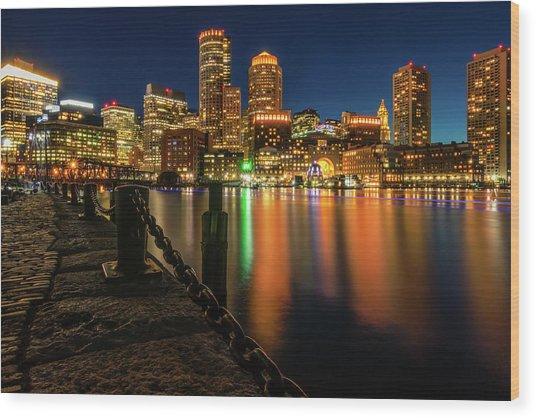 Blue Hour At Boston's Fan Pier Wood Print