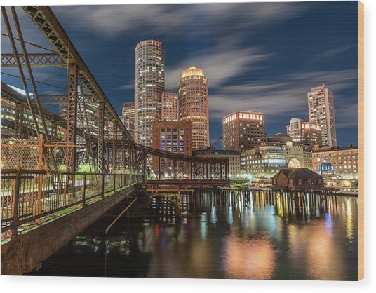 Blue Hour In Boston Harbor Wood Print