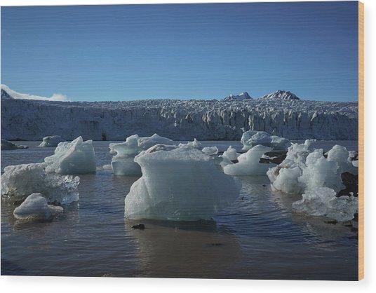 Blue Icebergs Floating Along Storm Arctic Coast Panorama Wood Print