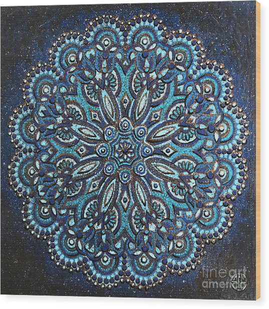 Blue Mandala Wood Print