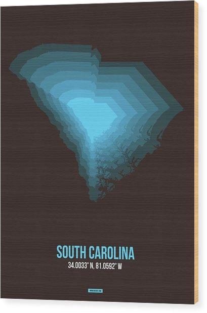 Blue Map Of South Carolina Wood Print