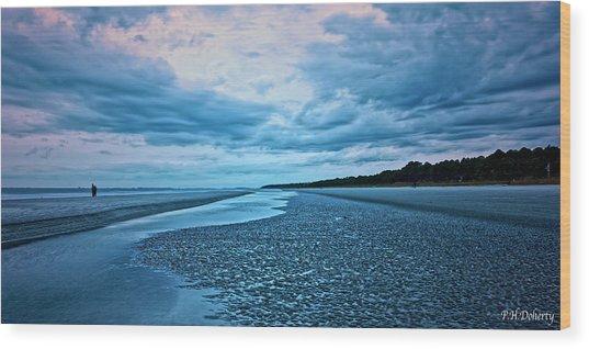 Blue Night At Low Tide Wood Print