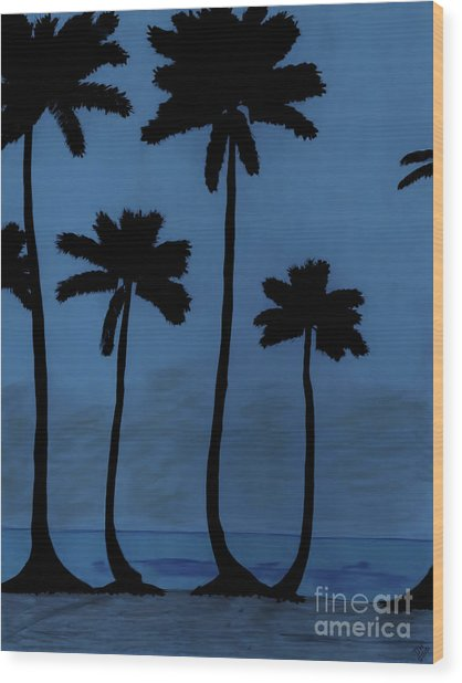 Blue - Night - Beach Wood Print