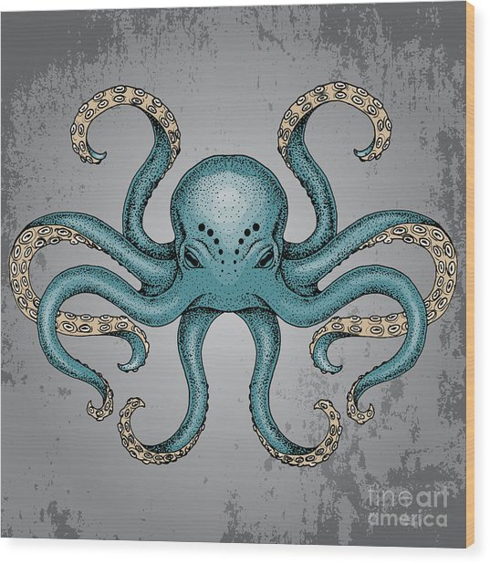Blue Octopus With Grunge Background In Wood Print